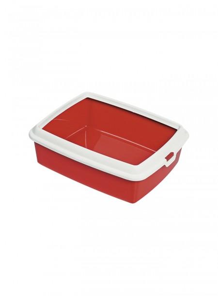 Пластиковий туалет для котів з рамкою HYDRA MINI червоного кольору Фото