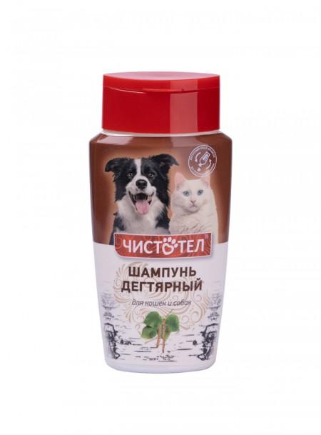 Безпечний дігтярний шампунь для собак, котів або мініпігів при шкіряних захворюваннях від компанії Чистотіл Фото