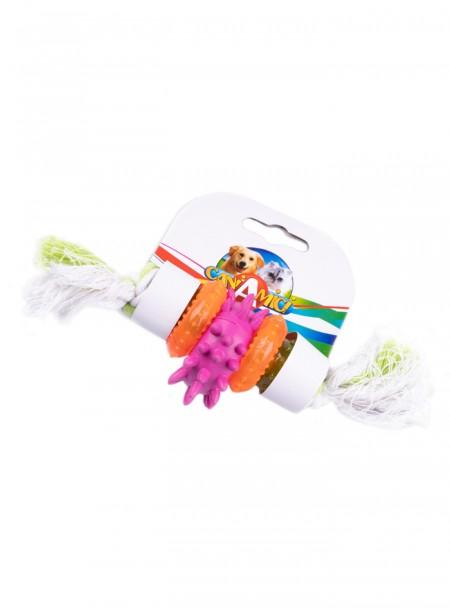 Іграшка для домашніх тварин CROCI канат грейфер з різнокольоровими шестернями Фото
