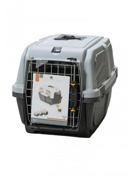 Зручна пластикова переноска для собак або котів SKUDO 2 IATA GREY Фото