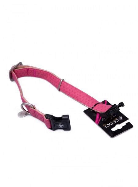 Регульований нашийник з тисненням MYLORD в рожевому забарвлені з кожзаму, розміром 48-70*2,5 см Фото