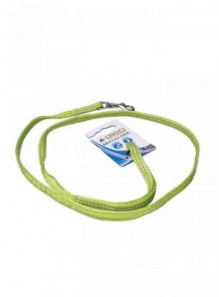 Зелений світловідбивний повідець з нейлону для прогулянок з домашніми тваринами SOFT REFLECTIVE довжиною 120 см. Фото
