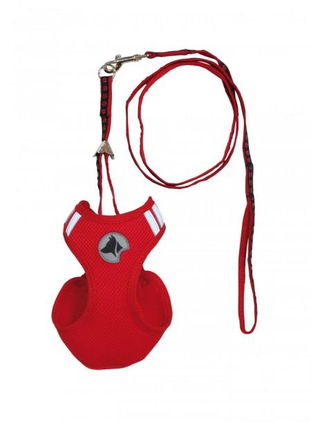 Оригінальний набір для домашніх улюбленців HIKING PARURE в червоному кольорі з м'якого нейлону, шлея та поводок XS розміру Фото