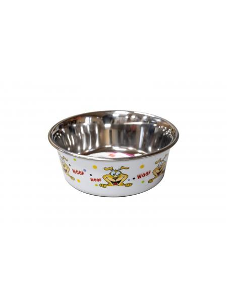 Біла миска для годування домашніх тварин CaniAMici сатин Woof на гумовій основі об'ємом 0,85 л. Фото
