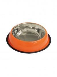 Миска для харчування домашніх улюбленців CaniAMici глазур помаранчева на гумці об'ємом 0,95 л. Фото