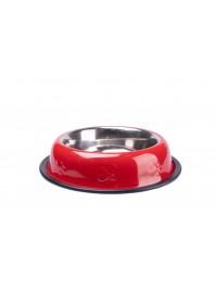 Миска CaniAMici глазур і карбування червона на гумці