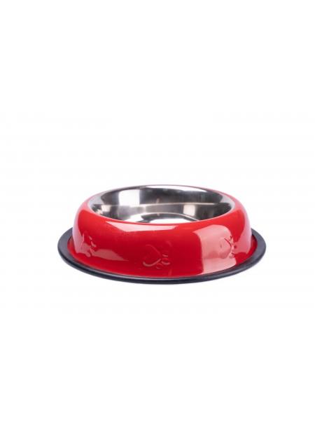 Миска для годування домашніх тварин CaniAMici глазур і карбування, в червоному кольорі на гумці, об'ємом 0,7 л. Фото