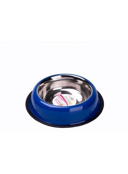 >Якісна миска для годування домашніх тварин CaniAMici глазур і карбування синя на гумці, об'ємом 0,7 л. Фото