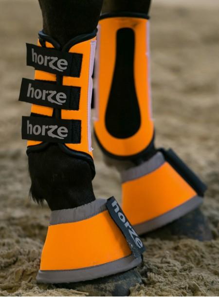 Світловідбивні ногавки для коня Horze в L розмірі з еластичного неопрену та міцними липучками Фото