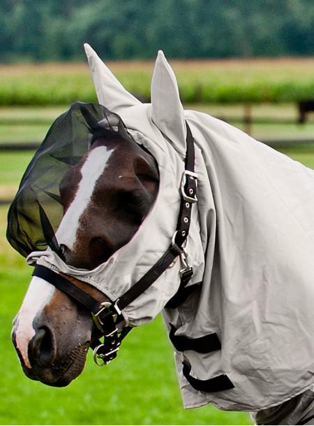 Капор для захисту голови коня від комах бренду Horze з якісних матеріалів Фото