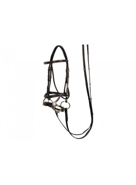 Якісна вуздечка для коня з регульованим капсулем та кермовим ременем Harry's Horse Фото