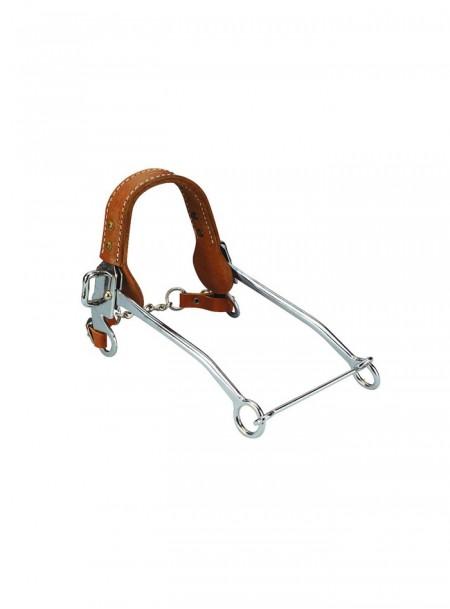 Якісна хакамора для коня NOSEBAND з шкіряним ременем повного розміру та міцним хромованим обвісом Фото