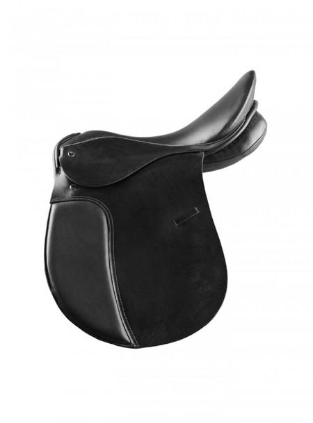 Натуральне шкіряне сідло для коня Horze 14N в чорному кольорі Фото