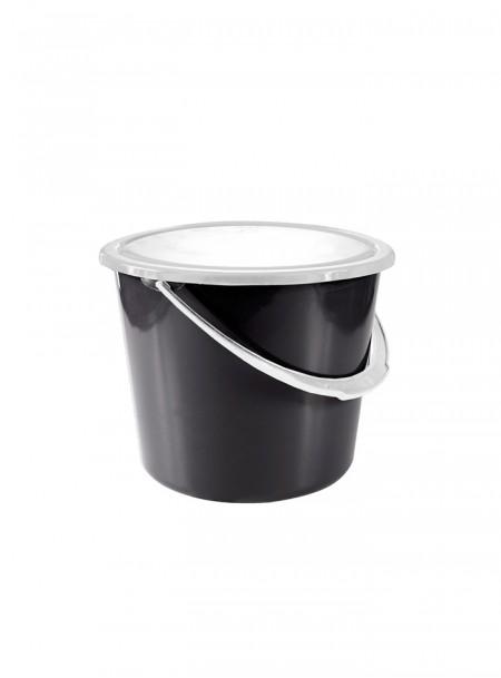 Чорне пластикове відро для стійла з кришкою Horze 8 л Фото