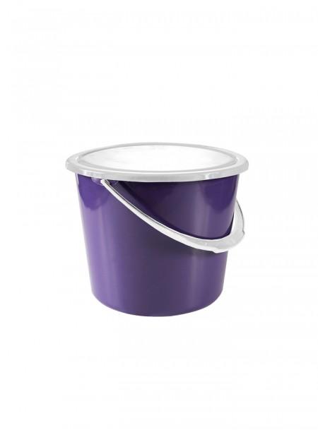 Фіолетове пластикове відро для стійла з кришкою Horze на 8 літрів Фото