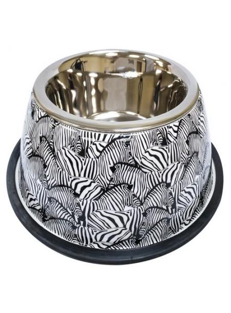 Миска Animalier Zebra, нерж. з гумов. підставою CROCI  Фото